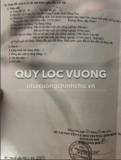 Bán đất mặt tiền QL51 xã Long An huyện Long Thành Đồng Nai diện tích 24.000 m2