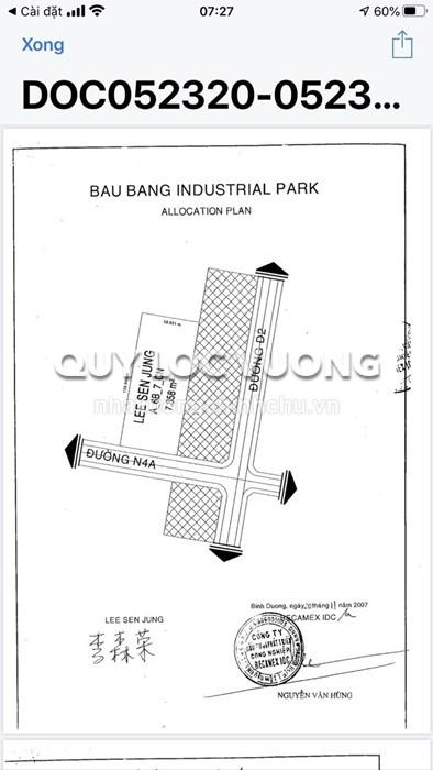 Bán 7.400m2 đất trong KCN Bàu Bàng xã Lai Uyên, Bàu Bàng, Bình Dương