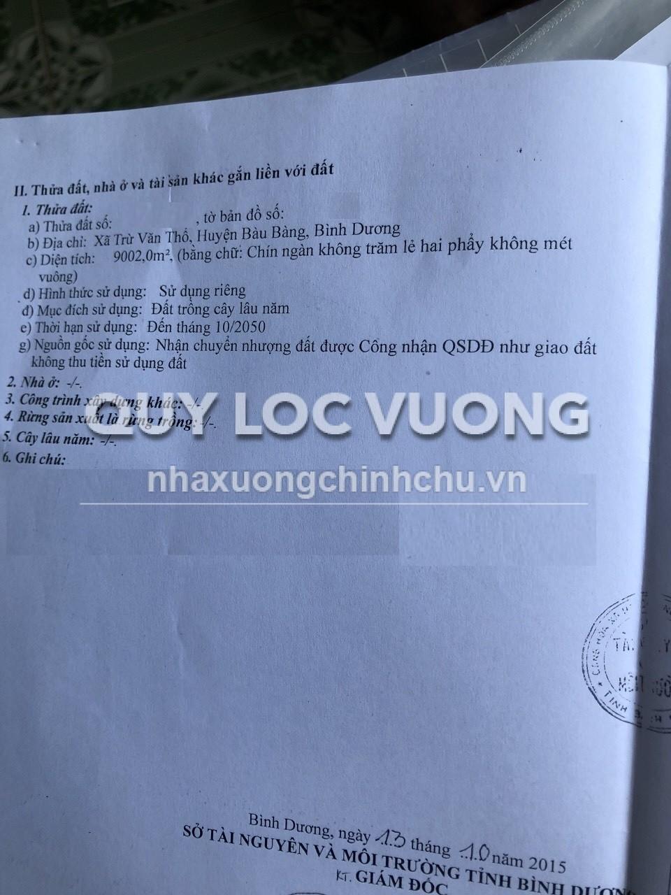 Cho thuê đất trồng cây lâu năm xã Trừ Văn Thố huyện Bàu Bàng, 9.000m2